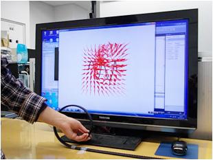 これを使ってコイルの形を表現。コイルのまわりの磁界も立体映像で見ることができます